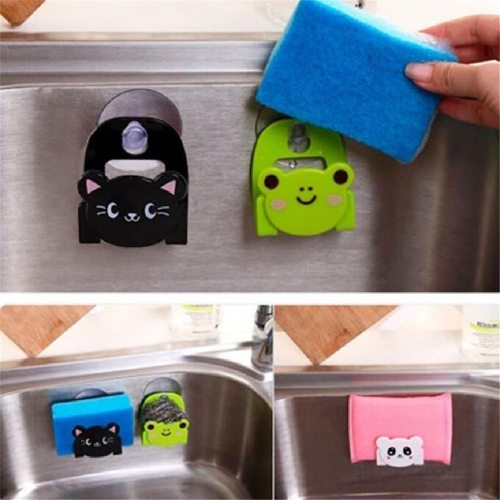 1 Piece Storage Rack Cartoon Dish Cloth Sponge Holder With Suction Cup Kitchen Multifunctional Storage Organizer Shipping Unrestricted Weight: None
