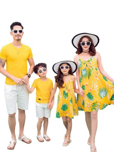 Kids Family Outfit 1 Piece Voguish Beach Style Plants Pattern Dress T Short Sleeve V Neck Girls Set Family Outfit Floral