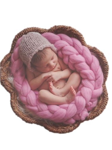 Newborn Basket Photo Props Crochet Baby Photo Blanket Basket Filler Braid Basket Solid 1 Size: the length is about 3-4 meters2 Weight: about 250g3