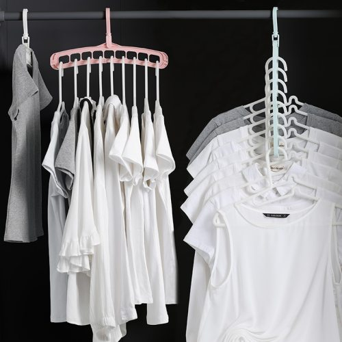 1 Piece Clothes Hanger 360 Degrees Rotary Nine Holes Clothing