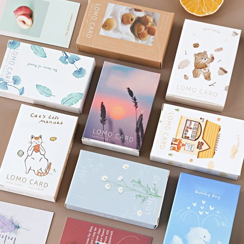 1 Box Post Cards Creative Simple Fresh Style Message Size: 8 * 52 cm28 Sheets/ box