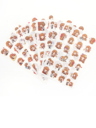 6Pcs Stickers Creative Cartoon Pattern Trendy Decorate Lovely Gift Figure Size: 9*14*1cm Simple Multi Stickers Set