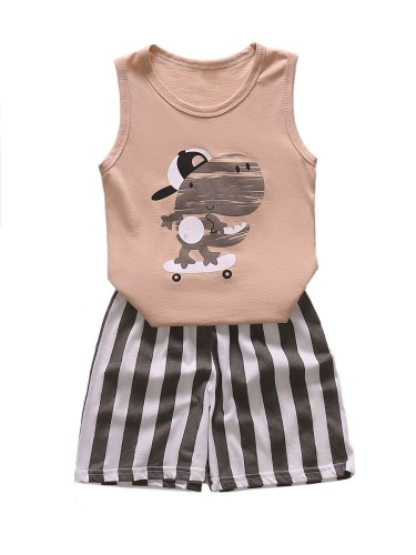 Boys and Girls Family Outfits Dinosaur Tank And Striped Shorts Set Brother Sister Matching Sleeveless Cartoon Crew Neck
