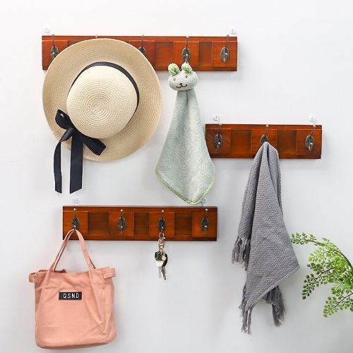 1 Pc Wood Wall Hooks Retro Style Bedroom Living Room Clothes Cap Size:S: 30*9cm M:40*9cm L:50*9cm