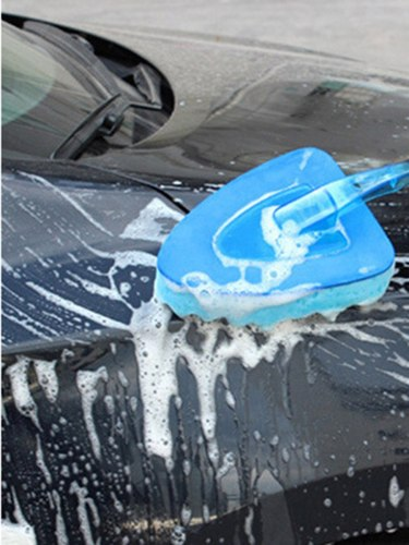 Car Towel Blue Cleaning Sponge Handle Washing Brush Super Absorbent Clean Sponge Car Car Wash Brush sponge length 20cm thick 5cmProduct weight:
