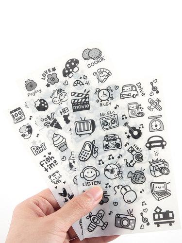 6 Pcs Stickers Creative Cartoon Pattern DIY Diary Decorative size: 14*9*1cm Finance Multi Stickers Set Shape Fashion