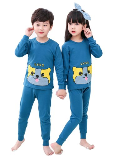 Brother And Sister Family Outfits Print Top Loose Casual Pants Crew Neck Cartoon Long Sleeve