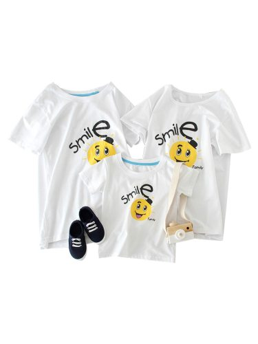 Kids Family Outfit Cartoon Pattern Cotton T Short Sleeve Crew Neck Tops Family Outfit Floral Boys & Girls