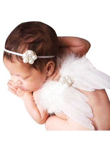 Baby Photo Prop 2 Pcs Set Feather Wing And Beading Headband Baby Wing Size: 19*30W*Lcm Rhinestone Solid