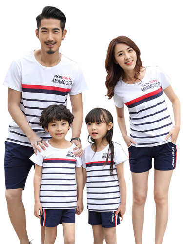 Kids Family Outfit Fashion Simple Stripe Letter Pattern Cotton T Short Sleeve Boys & Girls Crew Neck Tops Family Outfit Striped