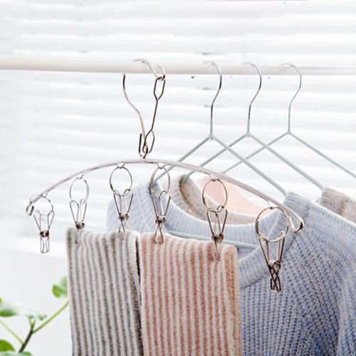 2 Pieces Clothes Hangers Kit Stainless Steel Windproof Socks