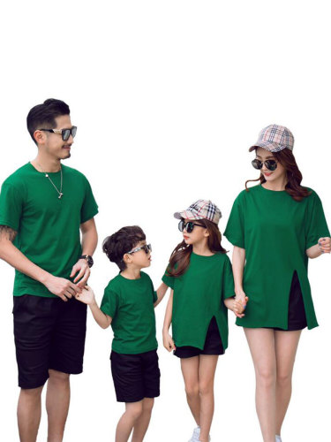 Kid's Family Outfits Parents And Kids Printed T-Shirt Solid Color Shorts Boys & Girls Set Family Outfit Letter Crew Neck Short Sleeve