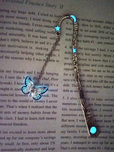 1Pc Bookmark Luminous Butterfly Shape Vintage Fashion Size:123*23*1cm