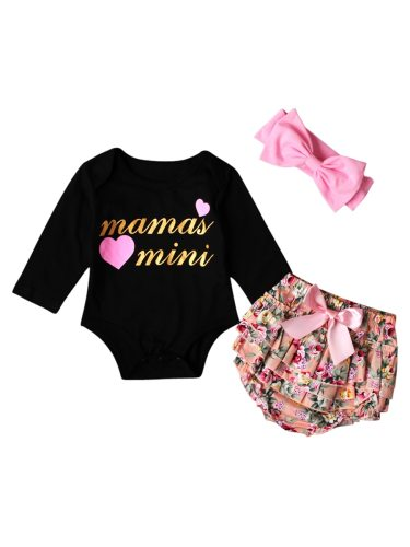3 Pcs 's Romper Set Headband Shorts Bodysuit Baby Baby Girl