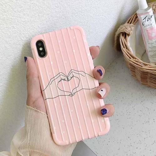 iPhone XS/XR/XS Max/X/8/8 Plus/7/7 Plus/6/6S/6 Plus/6S Plus Phone Cover Heart Gesture Pattern Soft Apple Shatter-Resistant Simple