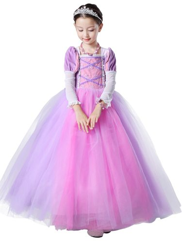 Toddlers Girl's Dress Tangled Rapunzel Princess Costume Ball Gown Layered Long Jacquard Appliques Cosplay Dress