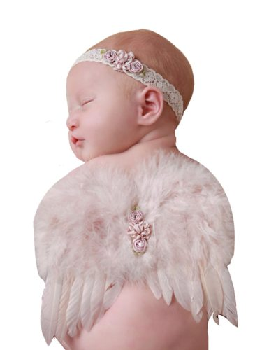 2 Pcs Photo Prop Cute Flower Feather Wings With A Hair Solid Beading dress upPackaging: Individually packedProduct advantages: light weight