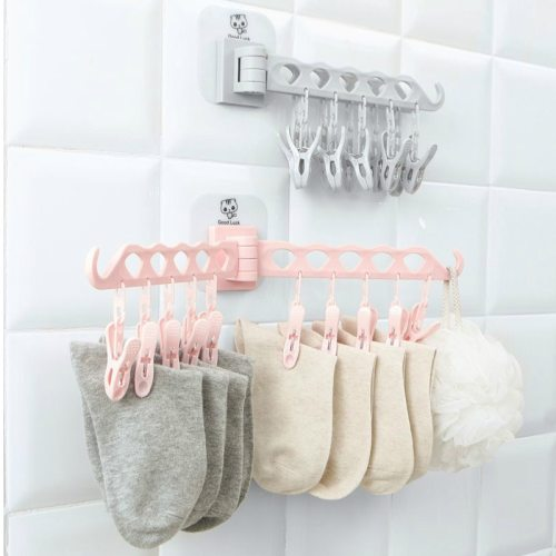 Hanger Free Punching Wall Hanging Folding Clothes Rack Bathroom Home Travel Portable Drying