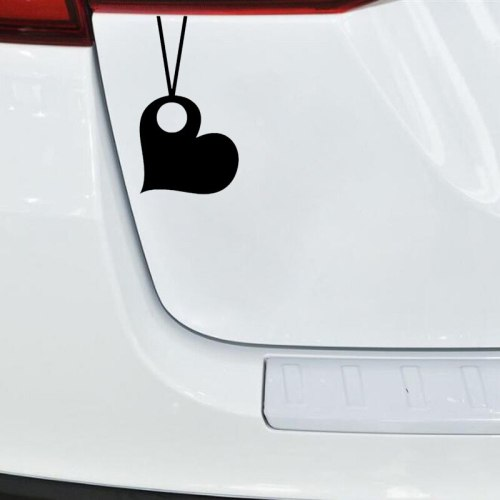 Car Sticker Simple Love Heart Design Waterproof Removable Stick Type Engine Cover Yellow