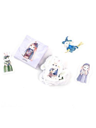 45Pcs Decorative Stickers Magic Cartoon Rabbit DIY Adhesive Cute Animal Multi Stickers Set Fresh Finance