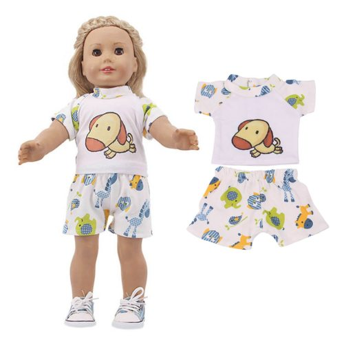 18'' Doll's 2 Pieces Clothes Set T Shirt+Shorts Cartoon 0~3 Years Old Not Included the doll Others
