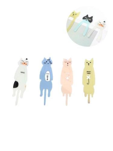 4 Pcs Bookmarks Cartoon Cat Pattern Brief Design