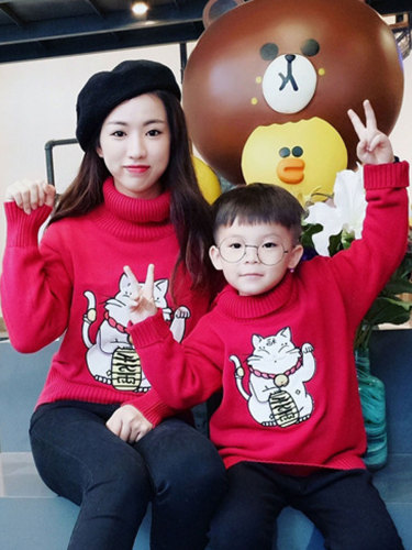 Kids Family Outfits Lovely Cat Sweater Top Tops Family Outfit Cartoon Long Sleeve Turtle Neck Boys & Girls