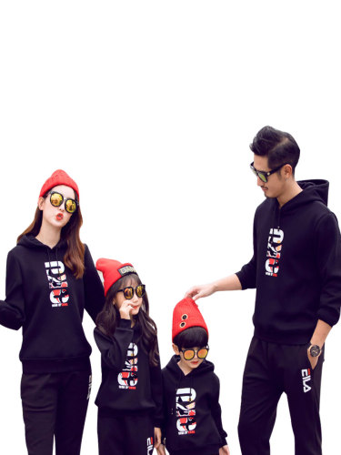 Kids Family Outfits Stylish s Print Thickened Hoodie Top Boys & Girls Long Sleeve Hooded Tops Family Outfit Letter