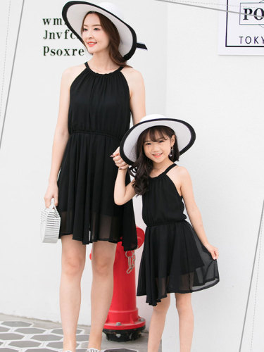 1 Piece Kids Family Outfit Stylish Dress Solid Color Casual Girls Sleeveless V Neck