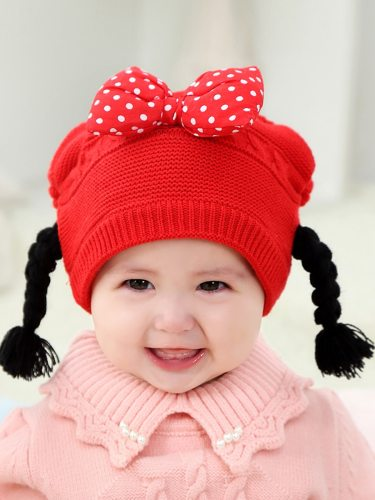 's Knitted Hat Fashion Bowknot Design Wig Size: 40-48CM Baseball Caps Girl