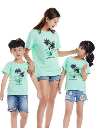 One Piece Top Family Outfit Casual T Shirt Crew Neck Boys & Girls Short Sleeve Tops Family Outfit Print