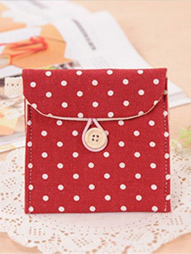 1 Pc Portable Bag Lovely Dots Pattern Easy Carry Coin