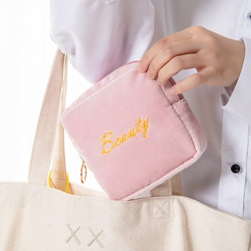 1 Piece Storage Bag Simple Embroidery Letters Pattern Square Mini Size: 13*13*4cm