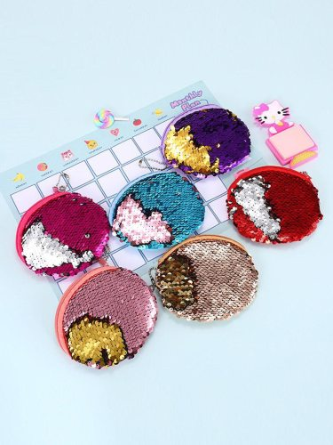 1Pc Change Bag Creative Sequins Design Round Shaped Storage Size: diameter: 10cm