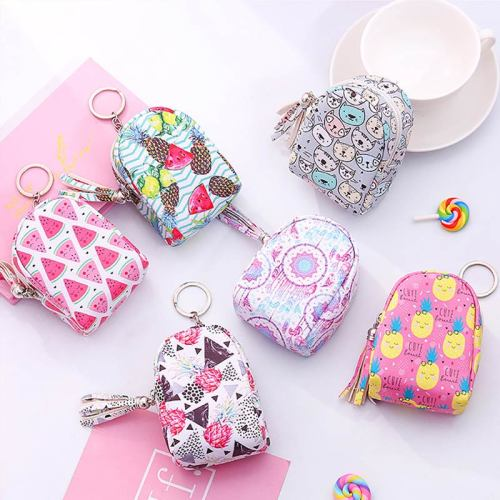 1 Piece Mini Coin Bag With Key Ring Backpack Design Students Change Size:9*65*5cm