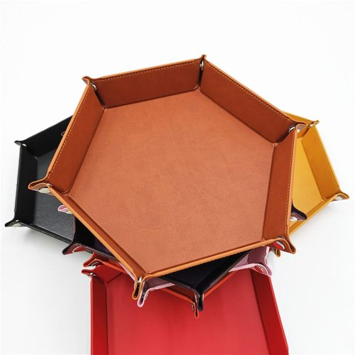 1 Piece Portable Storage Tray Case Leather Hexagon Desktop Sundries Cosmetic Organizer jewelry