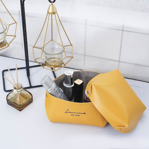 Desk Organization Bag Simple Solid Color PU Makeup Bag With Size: 13*8*16cm+13*3*16cm