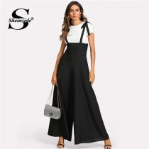Sheinside Black Straps Office Ladies Workwear Elegant Wide Leg Jumpsuit High Waist Plain Knot Loose Women Autumn Jumpsuit