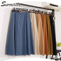 Surmiitro Autumn Winter Suede Velvet Skirt Female 2019 Midi Long Elegant Korean High Waist Skirt Women Blue A-line Pleated Skirt