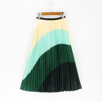 Srping Summer Women Skirts Cartoon Printing Midi Pleated Skirt Floral High Elasticity Jupe Femme Green Skirts Plus Size