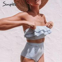 Simplee Ruffle Striped high waist women bathing suit Push up padded intimates female sexy swimwear Retro beach 2 pieces bodysuit