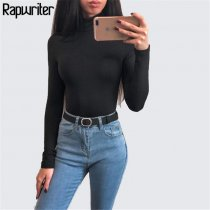 Rapwriter Sexy Solid Color Turtleneck Skinny Bodysuits Women 2018 New Autumn Winter Keep Warm Long Sleeve Bodycon Sheer Bodysuit