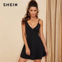 SHEIN Black Party Sexy Backless Solid Wrap Sleeveless Natural Waist Cami Short Dress Summer Club Night Out Women Dresses