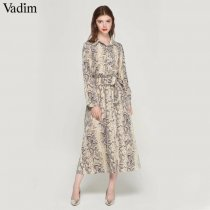 Vadim women snake skin pattern maxi dresses ankle length long dress bow tie sashes long sleeve casual chic vestidos QA472