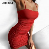 Articat Black Sexy Bodycon Summer Dress 2019 Strapless Spaghetti Strap Bandage Mini Dress Party Casual Basic Beach Dress Short