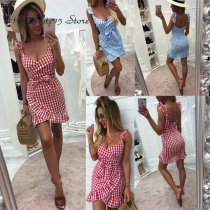 Sexy Summer Bodycon Ruffle Plaid Dress Women Boho Red Dresses for Women Spaghetti Strap Backless Beach Bow Dress Sundress