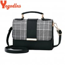 Yogodlns New Retro Plaid Small Square Package Minimalist Fashion Stitching Wild Messenger Shoulder Bag Ms. Packet