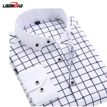 New 2019 Long Sleeve Solid Color dot printing Shirt Men Regular Fit Turn-down Collar Non Iron Business  Dress Shirts Work Wear