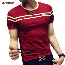 GustOmerD 2018 T-Shirt Men Solid Color T Shirt Man's Fashion T shirt Short Sleeves Stripe Fold Slim Fit Casual tee shirt man
