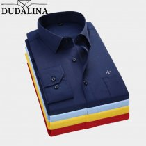 Dudalina 2019 Men Shirt Plus Size Color Pocket Long Sleeved Classical Male Shirts Formal Business Shirt Man Embroidery Logo